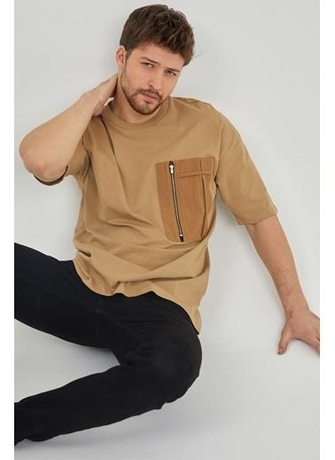 XHAN Vizon Fermuar Detaylı Tek Cepli T-Shirt  Vizon